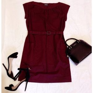 A.P.C Burgundy Wine Belted Shift Dress Size Small